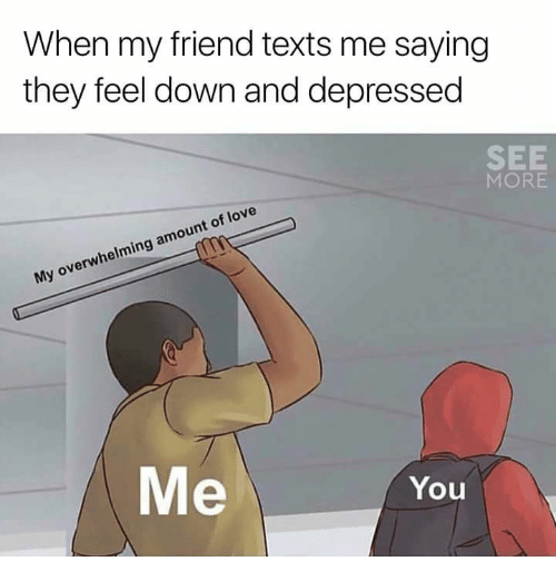 Love, Texts, and Friend: When my friend texts me saying  they feel down and depressec  SEE  MORE  My overwhelming amount of love  Me  You