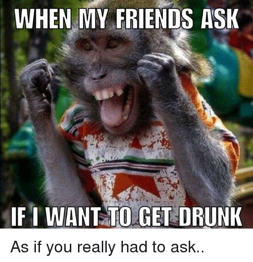 I Want To Get Drunk: WHEN MY FRIENDS ASK  IF I WANT TO GET DRUNK As if you really had to ask..