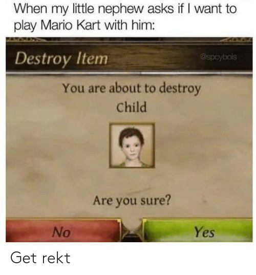 yes no: When my little nephew asks if I want to  play Mario Kart with him:  Destroy Item  @spcybois  You are about to destroy  Child  Are you sure?  Yes  No Get rekt