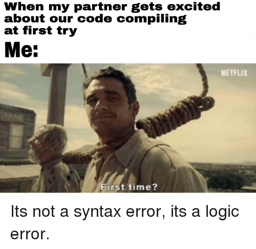 syntax: When my partner gets excited  about our code compiling  at first try  Me:  NETFLIX  First time? Its not a syntax error, its a logic error.