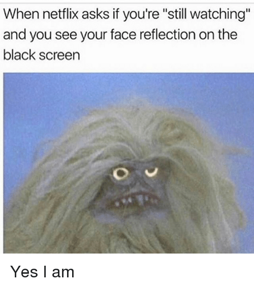 """Memes, Netflix, and Black: When netflix asks if you're """"still watching""""  and you see your face reflection on the  black screen Yes I am"""