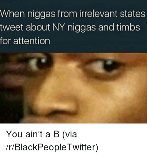 NY Niggas: When niggas from irrelevant states  tweet about NY niggas and timbs  for attention <p>You ain&rsquo;t a B (via /r/BlackPeopleTwitter)</p>