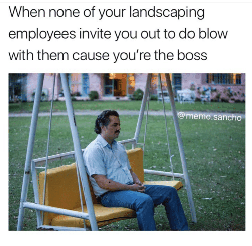 Boss Meme: When none of your landscaping  employees invite you out to do blow  with them cause you're the boss  @meme.sancho