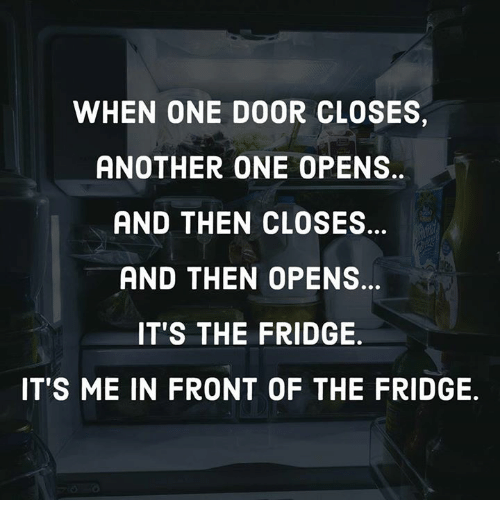 Another One, Dank, and 🤖: WHEN ONE DOOR CLOSES,  ANOTHER ONE OPENS  AND THEN CLOSES  AND THEN OPENS  IT'S THE FRIDGE  IT'S ME IN FRONT OF THE FRIDGE