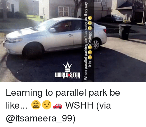 Be Like, Memes, and Wshh: When parallel parking ain't as easy as they say Learning to parallel park be like... 😩😧🚗 WSHH (via @itsameera_99)