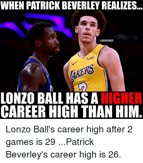 Nba, Games, and Him: WHEN PATRICK BEVERLEY REALIZES  @NBAMEMES  wish  LONZO BALL HAS AHIGHER  CAREER HIGH THAN HIM Lonzo Ball's career high after 2 games is 29  ...Patrick Beverley's career high is 26.
