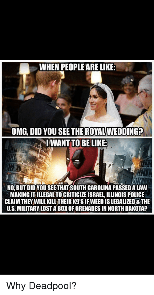 Be Like, Omg, and Police: WHEN PEOPLE ARE LIKE:  OMG, DID YOU SEE THE ROYAL WEDDING:  IWANT TO BE LIKE  NO, BUT DID YOU SEETHAT SOUTH CAROLINA PASSED A LAW  MAKING IT ILLEGAL TO CRITICIZE ISRAEL, ILLINOIS POLICE  CLAIM THEYWILL KILL THEIR KgS IFWEED IS LEGALIZED &THE  U.S. MILITARY LOST A BOK OF GRENADES IN NORTH DAKOTA?