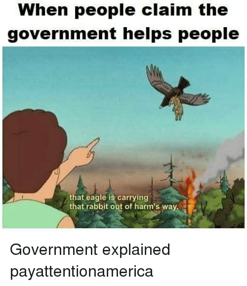 Memes, Eagle, and Rabbit: When people claim the  government helps people  that eagle is carrying  that rabbit out of harm's way Government explained payattentionamerica