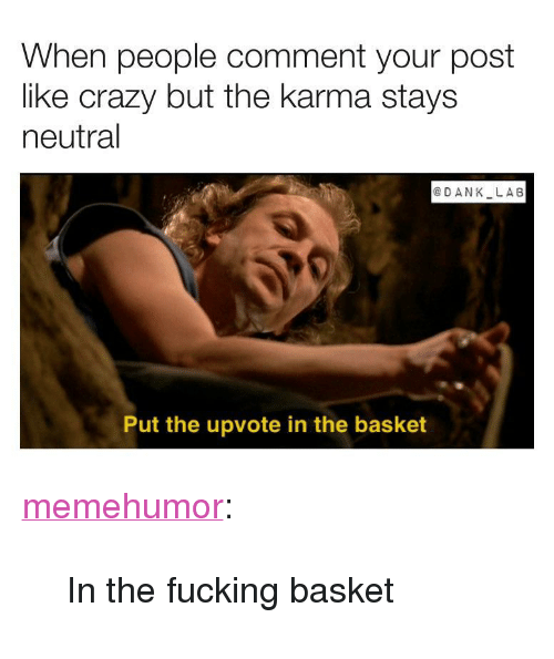 """like crazy: When people comment your post  like crazy but the karma stays  neutral  @DANK LA6  Put the upvote in the basket <p><a href=""""http://memehumor.net/post/171378320082/in-the-fucking-basket"""" class=""""tumblr_blog"""">memehumor</a>:</p>  <blockquote><p>In the fucking basket</p></blockquote>"""