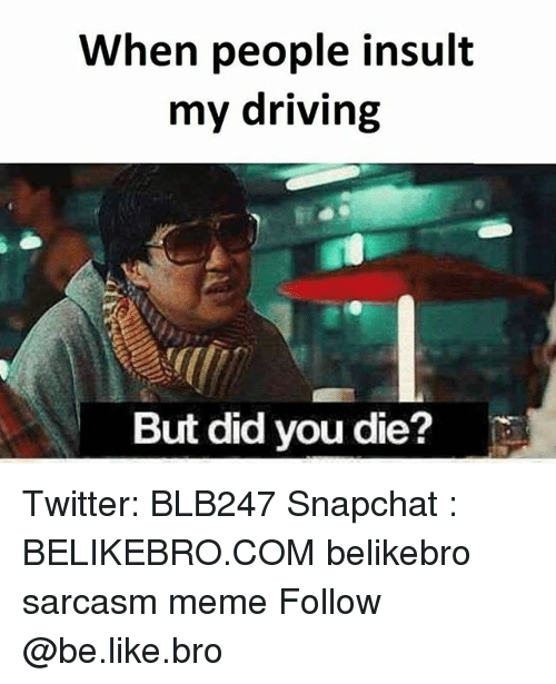 But Did You Die: When people insult  my driving  But did you die? Twitter: BLB247 Snapchat : BELIKEBRO.COM belikebro sarcasm meme Follow @be.like.bro