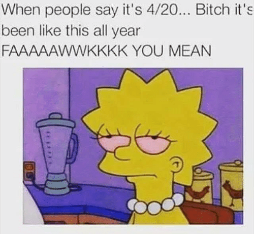 4:20, Memes, and Say It: When people say it's 4/20... Bitch it's  been like this all year  FAAAAAWWKKKK YOU MEAN