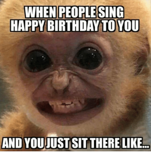 Birthday, Memes, and Singing: WHEN PEOPLE SING  HAPPY BIRTHDAY TO YOU  AND YOU JUST SIT THERE LIKE
