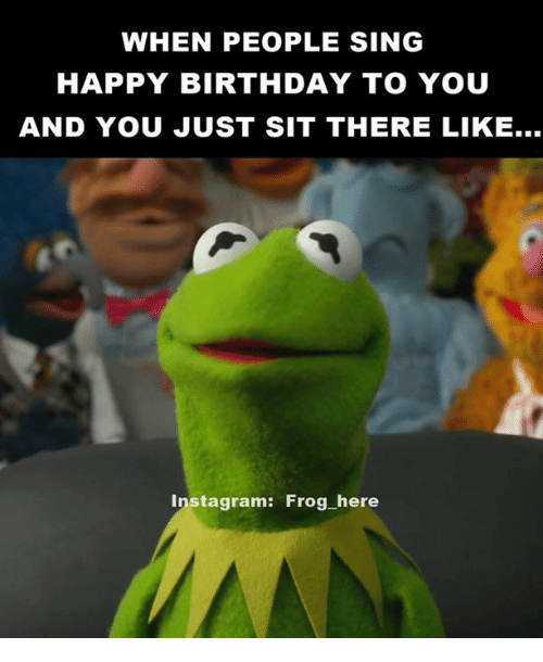 Birthday, Instagram, and Kermit the Frog: WHEN PEOPLE SING  HAPPY BIRTHDAY TO YOU  AND YOU JUST SIT THERE LIKE...  instagram: Frog here