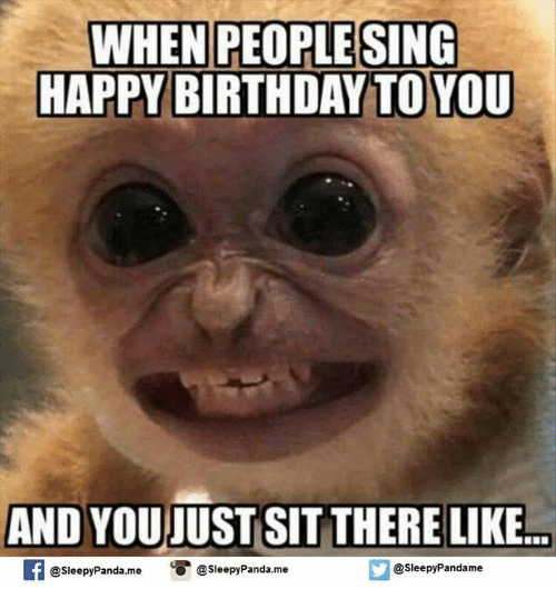 Birthday, Memes, and Singing: WHEN PEOPLE SING  HAPPY BIRTHDAY TO YOU  AND YOUIUST SIT THERE LIKE  f @sleepy Panda.me  O @sleepy Panda.me  @sleepy Pandame