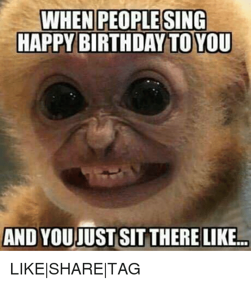 Birthday, Memes, and Singing: WHEN PEOPLE SING  HAPPY BIRTHDAY TOYOU  AND YOU JUST SIT THERE LIKE.. LIKE|SHARE|TAG