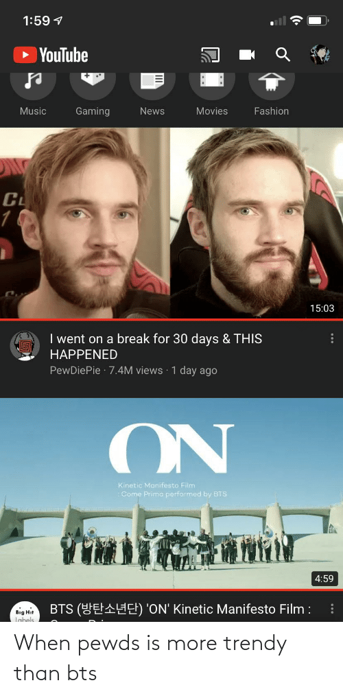 Trendy: When pewds is more trendy than bts