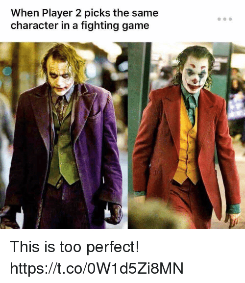 Video Games, Game, and Player: When Player 2 picks the same  character in a fighting game This is too perfect! https://t.co/0W1d5Zi8MN