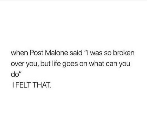 """Post Malone: when Post Malone said """"i was so broken  over you, but life goes on what can you  do""""  I FELT THAT."""