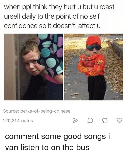 Confidence, Memes, and Roast: when ppl think they hurt u but u roast  urself daily to the point of no self  confidence so it doesn't affect u  Source: perks-of-being-chinese  120,314 notes comment some good songs i van listen to on the bus