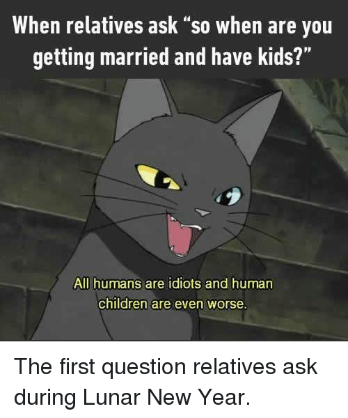 """lunar new year: When relatives ask """"so when are you  getting married and have kids?""""  All humans are idiots and human  children are even worse. The first question relatives ask during Lunar New Year."""