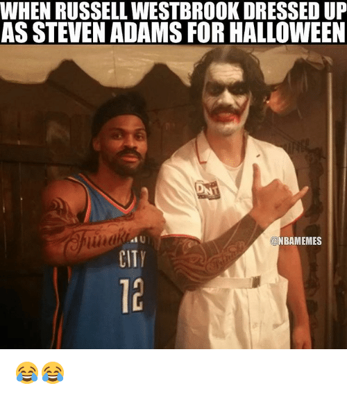 Halloween, Nba, and Ups: WHEN RUSSELLWESTBROOK DRESSED UP  AS STEVEN ADAMS FOR HALLOWEEN  NBAMEMES  CITY 😂😂