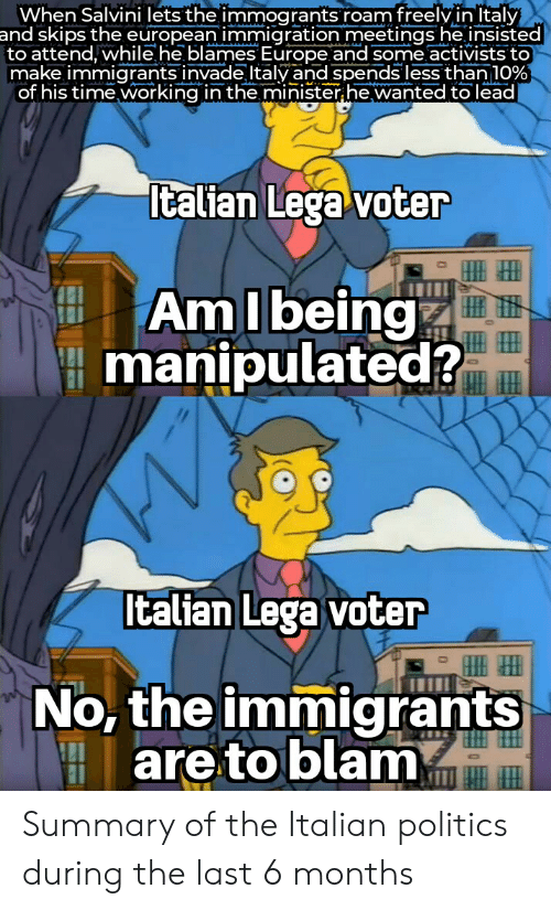 Salvini: When Salvini lets the immogrants roam freelvinltaly  and skips the european immigration meetings he insisted  to attend, while he blames Europe and some activists to  make immigrants invade Italy and spends less than 10%  of his time working in the minister he wanted to lead  Italian Lega voter  AmIbeing  manipulated?  Italian Lega voter  No, the immigrants  are to blam Summary of the Italian politics during the last 6 months
