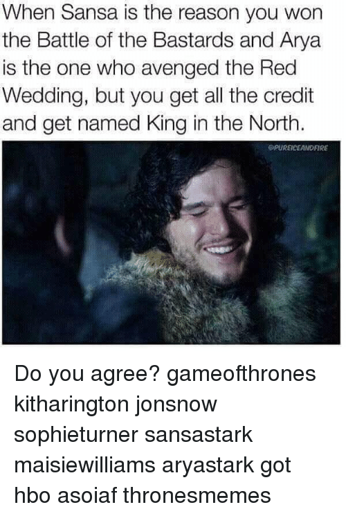 avenged: When Sansa is the reason you won  the Battle of the Bastards and Arya  is the one who avenged the Red  Wedding, but you get all the credit  and get named King in the North.  SPUREICEANDFIRE Do you agree? gameofthrones kitharington jonsnow sophieturner sansastark maisiewilliams aryastark got hbo asoiaf thronesmemes