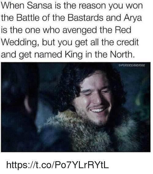 avenged: When Sansa is the reason you won  the Battle of the Bastards and Arya  is the one who avenged the Red  Wedding, but you get all the credit  and get named King in the North.  OPUREICEANDFIRE https://t.co/Po7YLrRYtL
