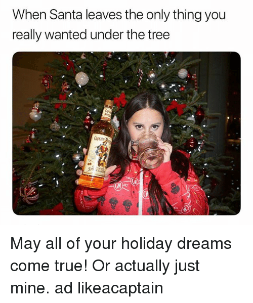 spr: When Santa leaves the only thing you  really wanted under the tree  1  SPr  CM May all of your holiday dreams come true! Or actually just mine. ad likeacaptain