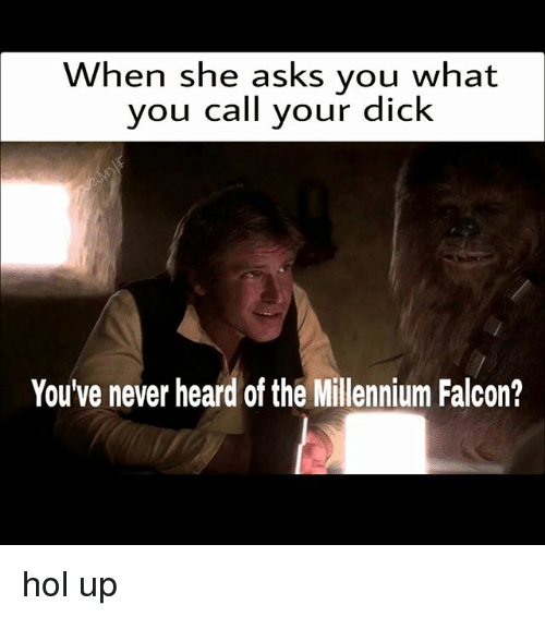 falcone: When she asks you what  you call your dick  You've never heard of the Millennium Falcon? hol up
