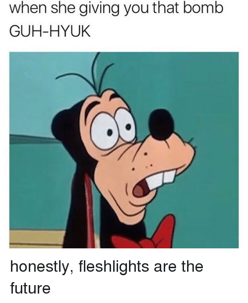 fleshlight: when she giving you that bomb  GUH-HYUK honestly, fleshlights are the future