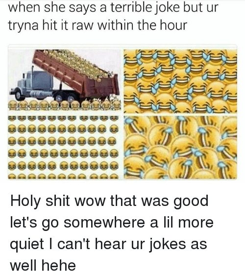 Memes, Shit, and Wow: when she says a terrible joke but ur  tryna hit it raw within the hour Holy shit wow that was good let's go somewhere a lil more quiet I can't hear ur jokes as well hehe