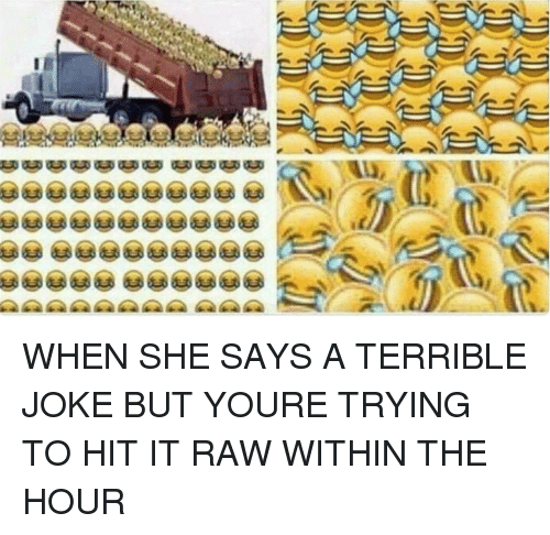 terrible jokes: WHEN SHE SAYS A TERRIBLE JOKE BUT YOURE TRYING TO HIT IT RAW WITHIN THE HOUR