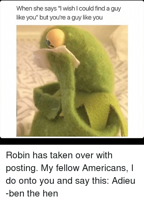 """Memes, Taken, and 🤖: When she says """"I wish I could find a guy  like you"""" but you're a guy like you Robin has taken over with posting. My fellow Americans, I do onto you and say this: Adieu -ben the hen"""