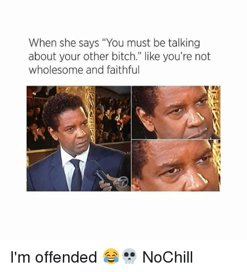 """Bitch, Funny, and Wholesome: When she says """"You must be talking  about your other bitch."""" like you're not  wholesome and faithful I'm offended 😂💀 NoChill"""