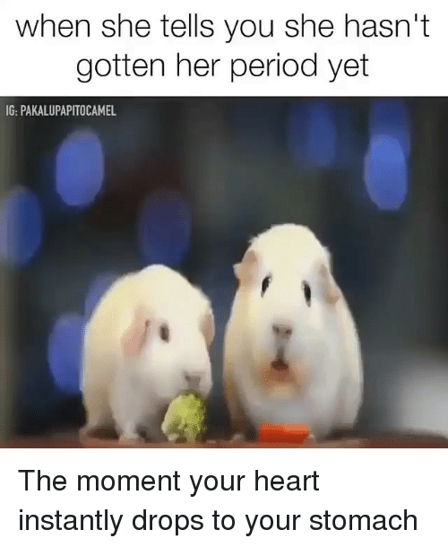 Memes, Period, and Heart: when she tells you she hasn't  gotten her period yet  IG: PAKALUPAPITOCAMEL The moment your heart instantly drops to your stomach