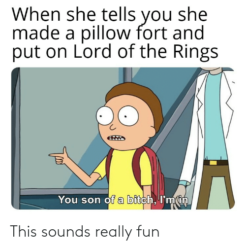 rings: When she tells you she  made a pillow fort and  put on Lord of the Rings  You son of a bitch, I'min This sounds really fun