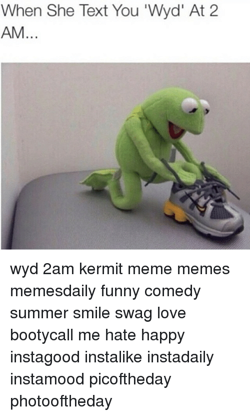 Funny, Love, and Meme: When She Text You 'Wyd' At 2  AM wyd 2am kermit meme memes memesdaily funny comedy summer smile swag love bootycall me hate happy instagood instalike instadaily instamood picoftheday photooftheday