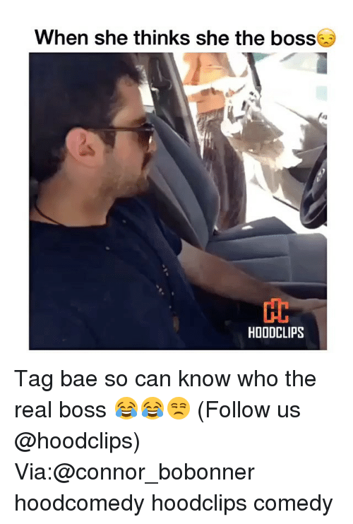 Funny, Boss, and Can: When she thinks she the boss  HOODCLIPS Tag bae so can know who the real boss 😂😂😒 (Follow us @hoodclips) Via:@connor_bobonner hoodcomedy hoodclips comedy