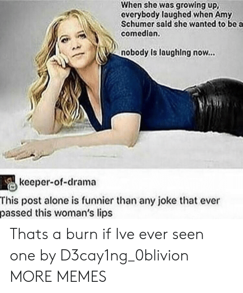 Amy Schumer: When she was growing up,  everybody laughed when Amy  Schumer sald she wanted to bo a  comedion.  nobody Is laughing now...  keeper-of-drama  This post alone is funnier than any joke that ever  passed this woman's lips Thats a burn if Ive ever seen one by D3cay1ng_0blivion MORE MEMES