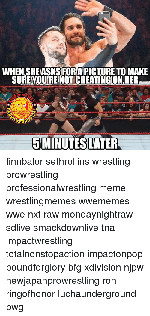 tna: WHEN SHEASKSFORAPICTURE TOMAKE  SURE OUTREINOT CHEATINGON,HER  FOR  5 MINUTES LATER finnbalor sethrollins wrestling prowrestling professionalwrestling meme wrestlingmemes wwememes wwe nxt raw mondaynightraw sdlive smackdownlive tna impactwrestling totalnonstopaction impactonpop boundforglory bfg xdivision njpw newjapanprowrestling roh ringofhonor luchaunderground pwg