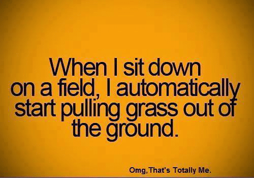 memes: When sit down  on a field, automaticall  start pulling grass out o  the ground.  Omg, That's Totally Me