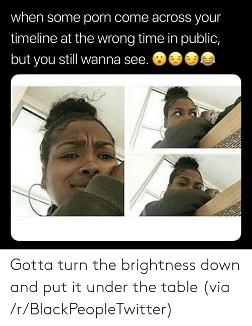 Wrong Time: when some porn come across your  timeline at the wrong time in public,  but you still wanna see. 8 Gotta turn the brightness down and put it under the table (via /r/BlackPeopleTwitter)
