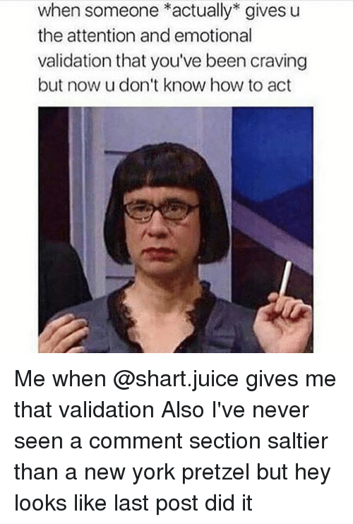 Memes, 🤖, and Pretzel: when someone *actually gives u  the attention and emotional  validation that you've been craving  but now u don't know how to act Me when @shart.juice gives me that validation Also I've never seen a comment section saltier than a new york pretzel but hey looks like last post did it