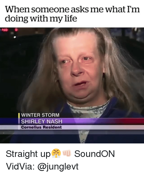winter storm: When someone asks me what Im  doing with my life  WINTER STORM  SHIRLEY NASH  Cornelius Resident Straight up😤👊🏻 SoundON VidVia: @junglevt