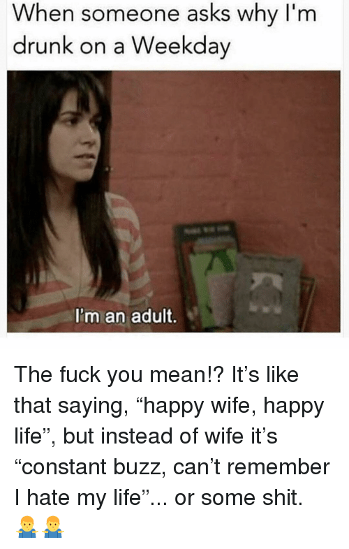 """im an adult: When someone asks why I'm  drunk on a Weekday  I'm an adult. The fuck you mean!? It's like that saying, """"happy wife, happy life"""", but instead of wife it's """"constant buzz, can't remember I hate my life""""... or some shit. 🤷♂️🤷♂️"""