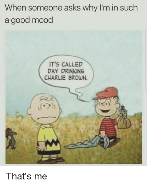 charlie brown: When someone asks why I'm in such  a good mood  ITS CALLED  DAY DRINKING  CHARLIE BROWN. That's me