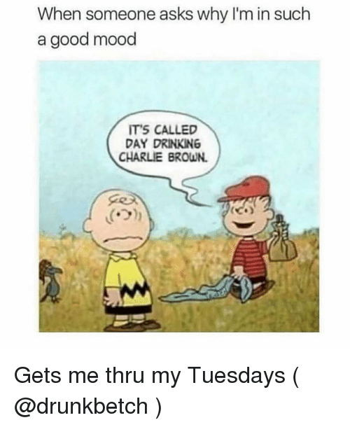 charlie brown: When someone asks why I'm in such  a good mood  ITS CALLED  DAY DRINKING  CHARLIE BROWN.  ('기 Gets me thru my Tuesdays ( @drunkbetch )