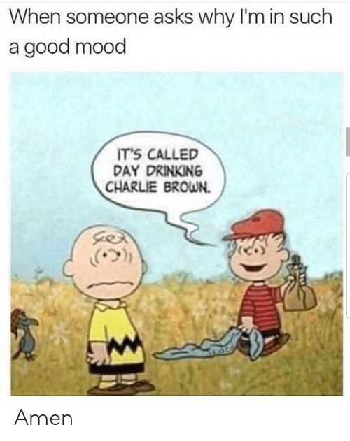 charlie brown: When someone asks why I'm in such  a good mood  IT'S CALLED  DAY DRINKING  CHARLIE BROWN.  .(ウ)) Amen
