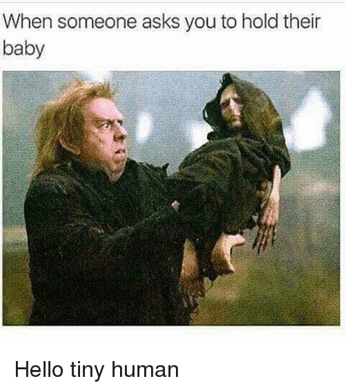 Hello, Memes, and Asks: When someone asks you to hold their  baby Hello tiny human